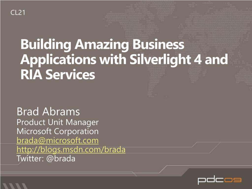 building amazing business applications with silverlight 4 and ria services l.