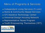 menu of programs services