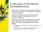 a look back at thompson s accomplishments