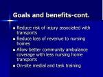 goals and benefits cont