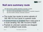 null zero summary route