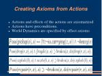 creating axioms from actions