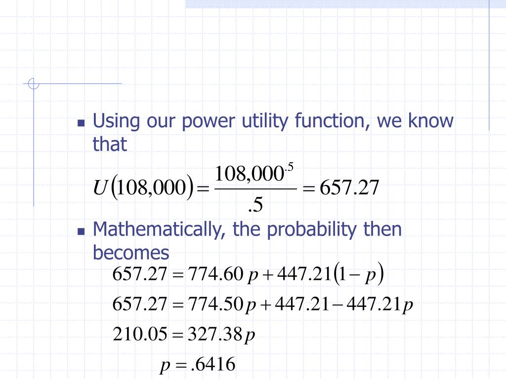 Using our power utility function, we know that