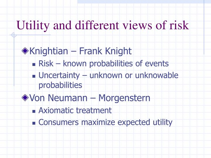 Utility and different views of risk
