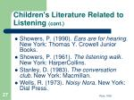 children s literature related to listening cont