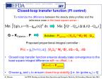closed loop transfer function pi control