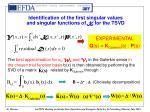 identification of the first singular values and singular functions of k for the tsvd
