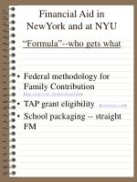 financial aid in newyork and at nyu formula who gets what