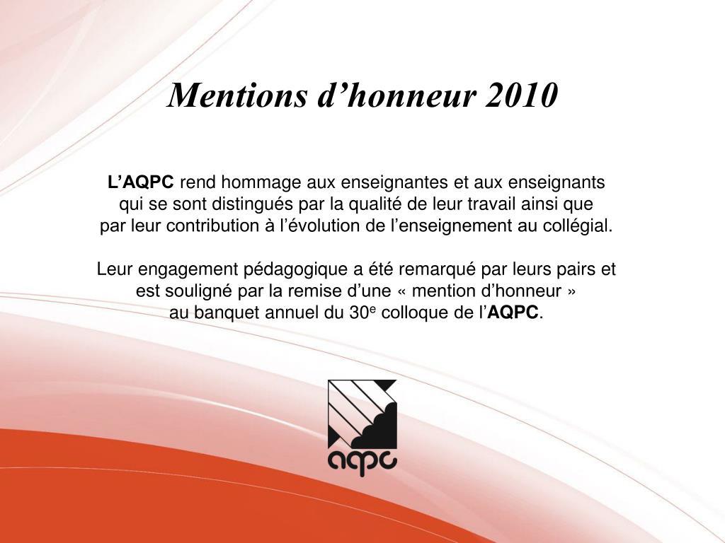 mentions d honneur 2010 l.
