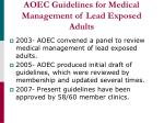 aoec guidelines for medical management of lead exposed adults