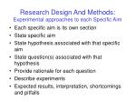 research design and methods experimental approaches to each specific aim