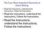 the four most important elements of grant writing