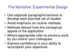 the narrative experimental design