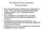 the specific aims section environment