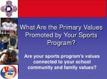 what are the primary values promoted by your sports program