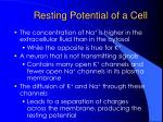 resting potential of a cell15