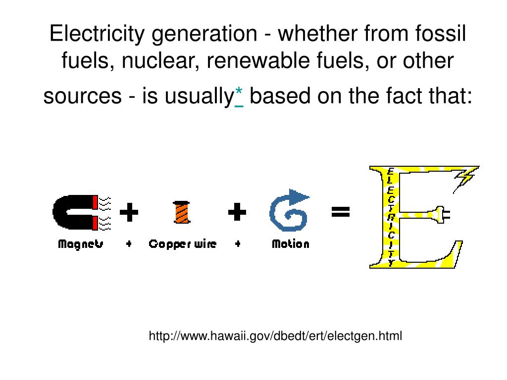 Electricity generation - whether from fossil fuels, nuclear, renewable fuels, or other sources - is usually