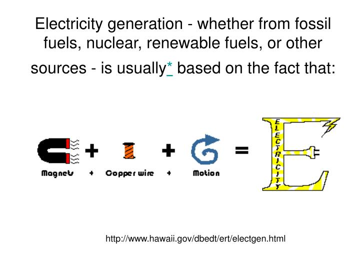Electricity generation - whether from fossil fuels, nuclear, renewable fuels, or other sources - is ...
