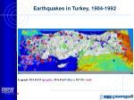 earthquakes in turkey 1904 1992