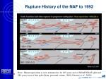 rupture history of the naf to 1992