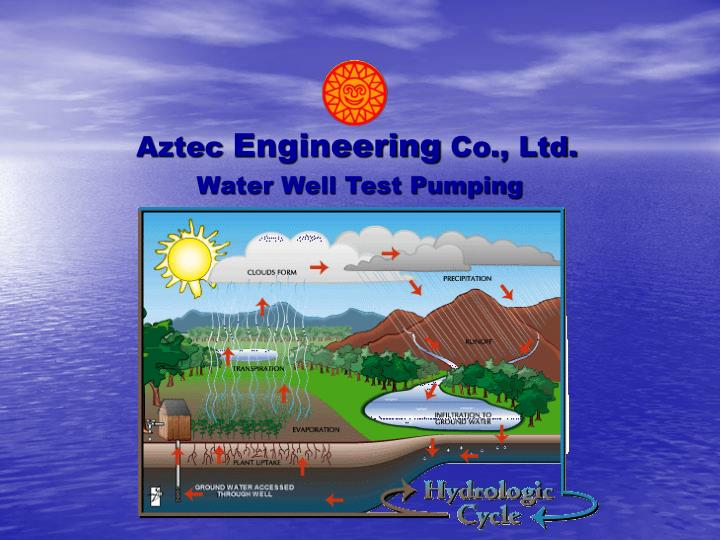 water well test pumping n.