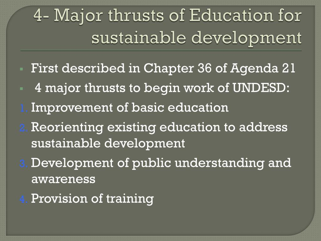 4- Major thrusts of Education for sustainable development