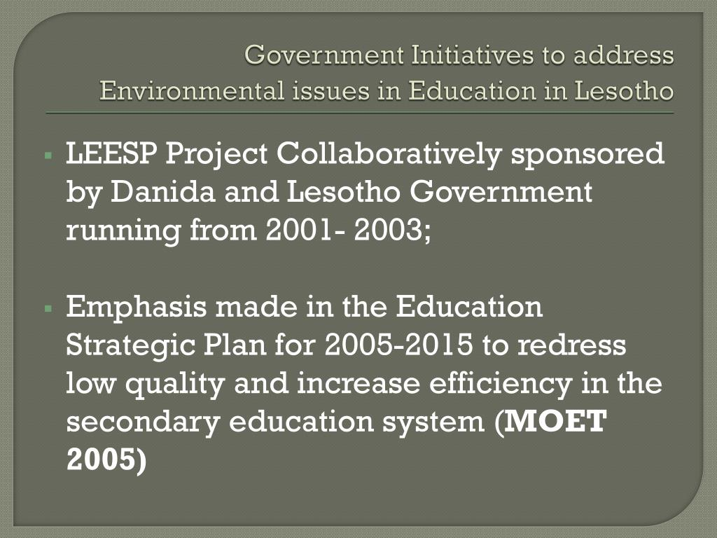 Government Initiatives to address Environmental issues in Education in Lesotho