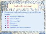 codes de fonction