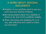 a word about original documents