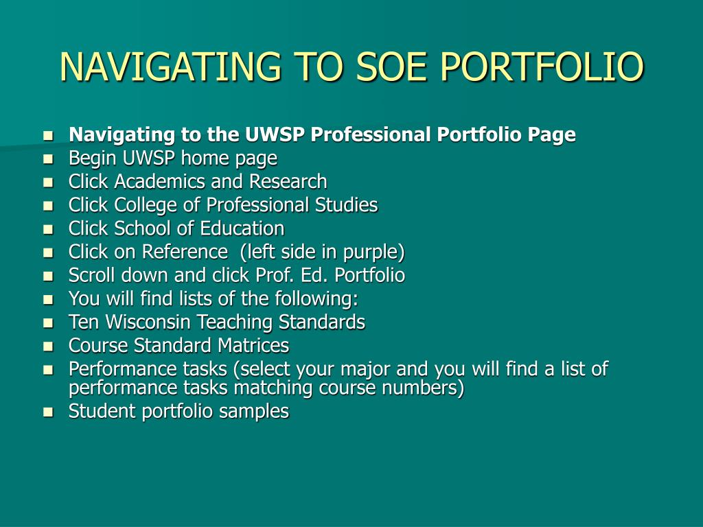 navigating to soe portfolio l.