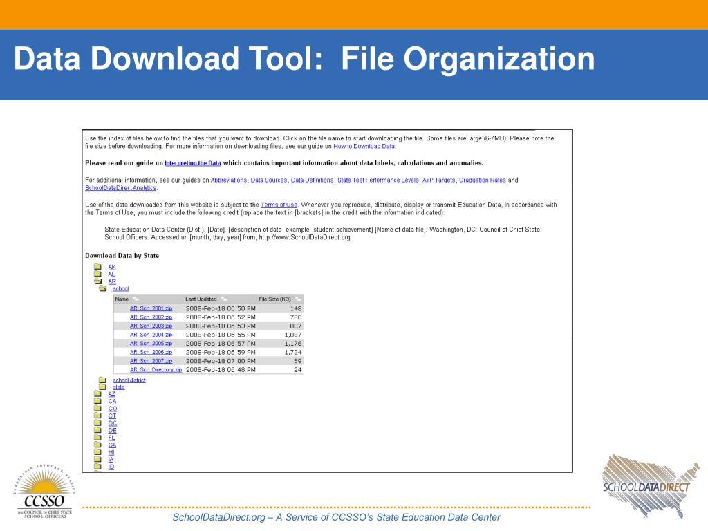 Data Download Tool:  File Organization