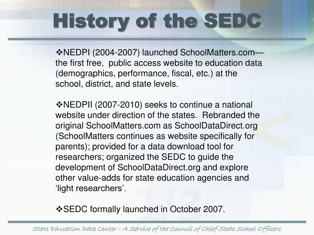 History of the SEDC
