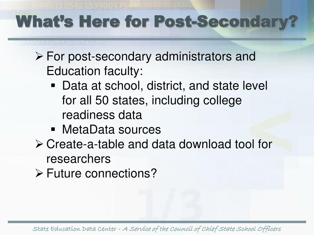 What's Here for Post-Secondary?