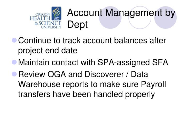 Account Management by Dept