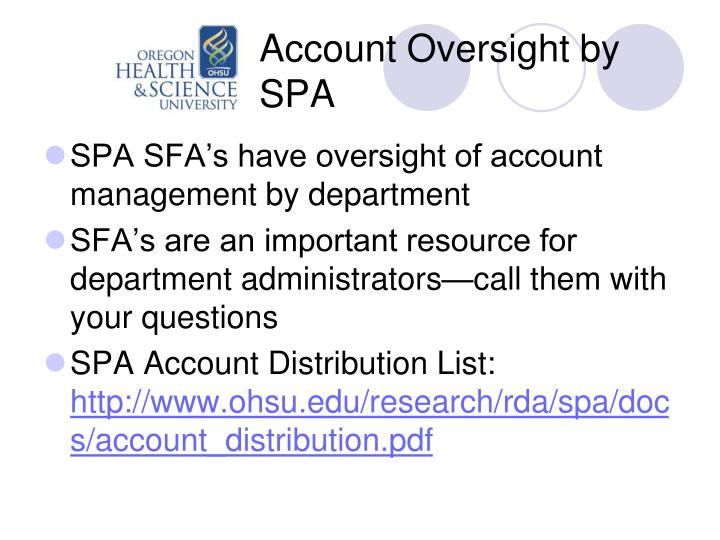 Account Oversight by SPA