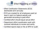 effort reporting at ohsu