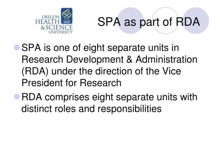 SPA as part of RDA