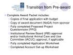 transition from pre award1