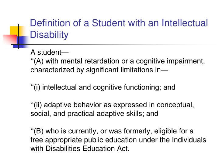 Definition of a Student with an Intellectual Disability