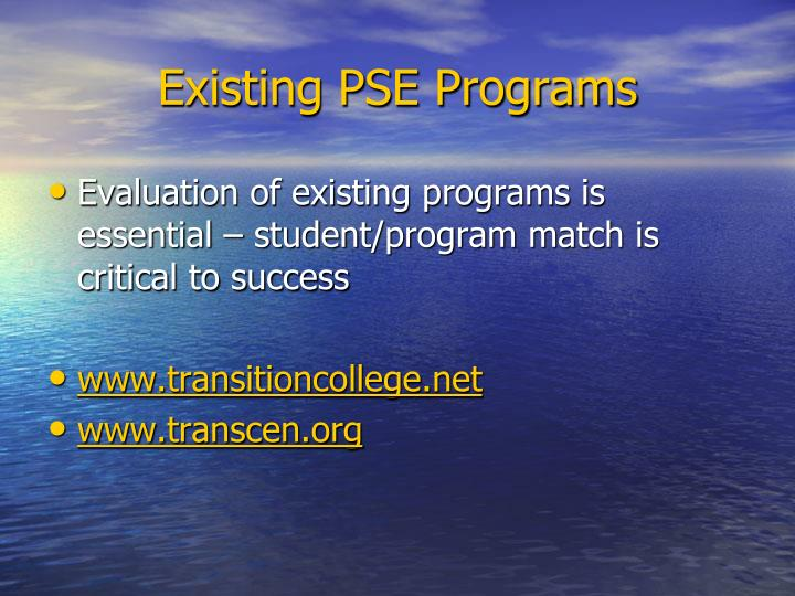 Existing PSE Programs