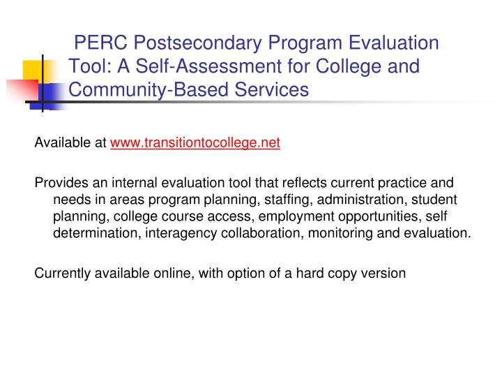 PERC Postsecondary Program Evaluation Tool: A Self-Assessment for College and Community-Based Services