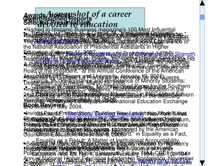 …A snapshot of a career devoted to education