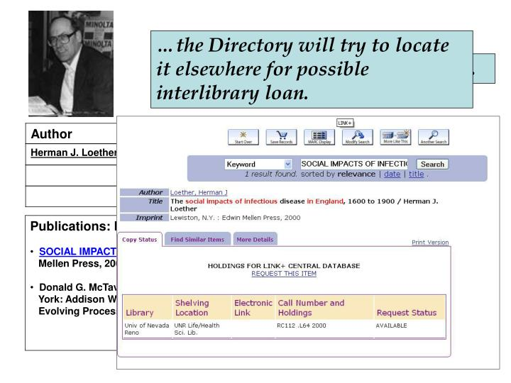 …the Directory will try to locate it elsewhere for possible interlibrary loan.