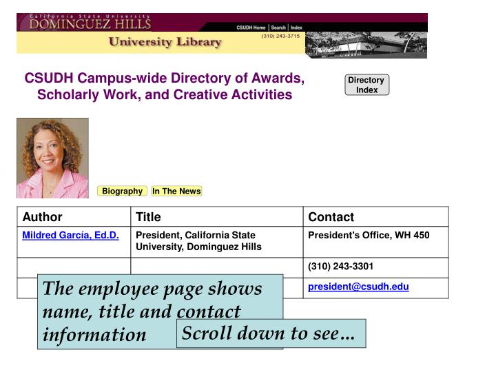 CSUDH Campus-wide Directory of Awards,