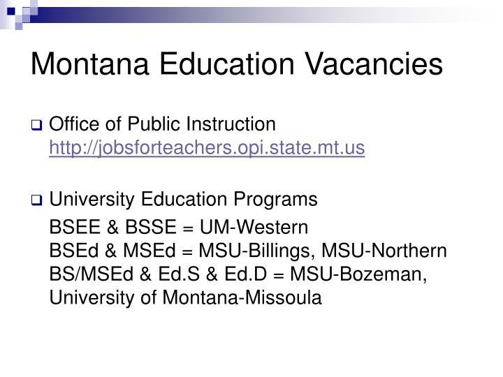 Montana education vacancies