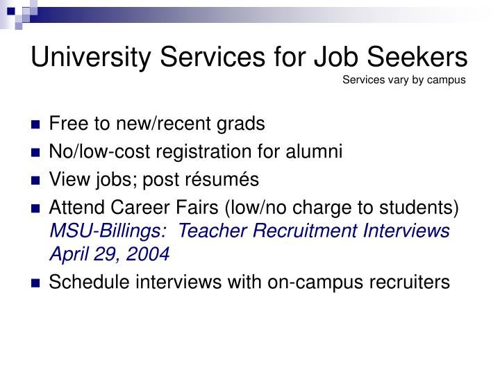 University Services for Job Seekers