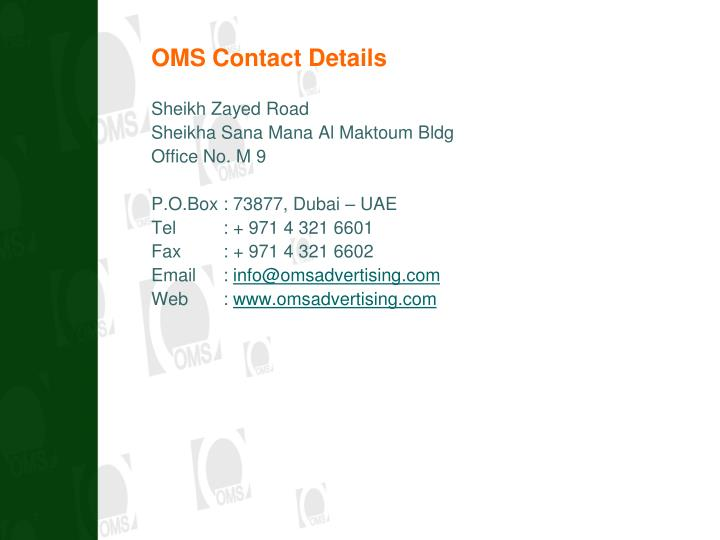 OMS Contact Details