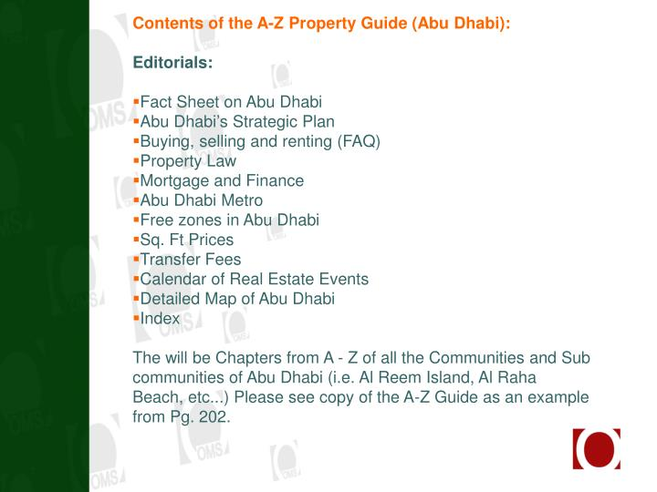 Contents of the A-Z Property Guide (Abu Dhabi):