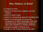 misc matters of belief