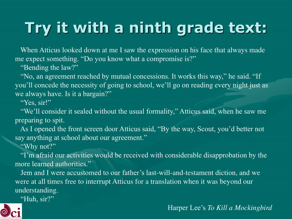 Try it with a ninth grade text: